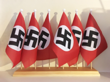 WWII REGULAR (NAZI) - 6 HOLE TABLE FLAG SET WITH WOODEN BASE